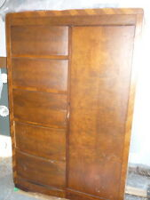 VTG. ARMOIRE FURNITURE CEDAR WARDROBE CLOSET W FIVE DRAWS  ART DECO PICK UP ONLY