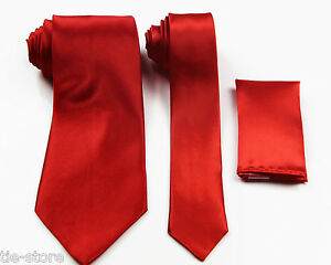 RED-ORANGE-MATCHING-TIE-SET-3-PIECE-POCKET-SQUARE-HANKY-WEDDING-SKINNY-NECKTIE