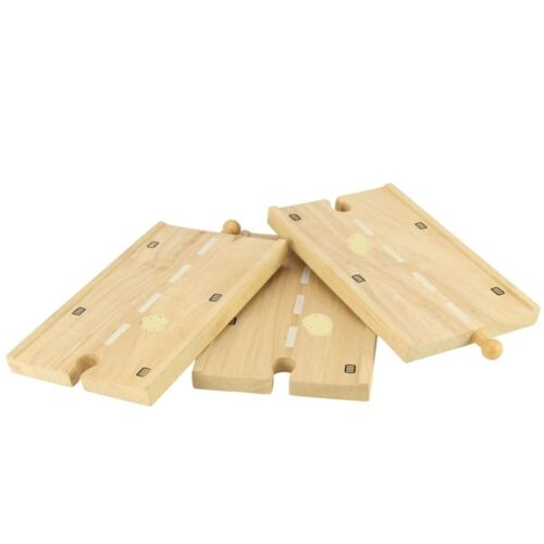 R100** jeu et jouet en bois 3 rails en bois pour circuit voiture réf