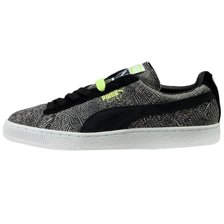 Puma Suede Mis-Match Mens 359407-01 Dark Shadow Black Athletic Shoes Comfortable
