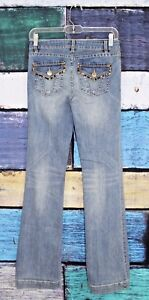 Cache-0-Light-Wash-Leopard-Trim-Stretch-Flap-Pocket-Bootcut-Boot-Jeans-0-X-31