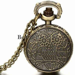Vintage-Bronze-Owl-Pattern-Numerals-Dial-Quartz-Pocket-Watch-Pendant-Necklace