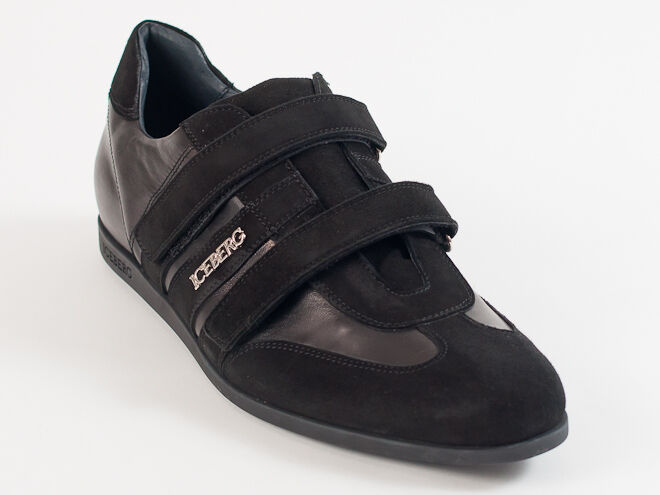 New  Iceberg Black Leather & Suede Made in  shoes Size 45 US 12