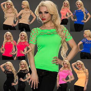 Sexy-clubbing-women-cut-out-Fit-Ladies-Party-Top-Blouse-Mesh-Shirt-6-8-10-12-S-M