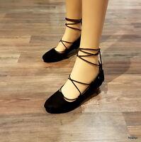 Ballerines Lacets Noir Mocassin Été Chaussures Femme Ville Talons Plats 40