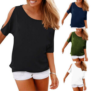 f54eb32487976f Women s Summer Casual T Shirts Cold Shoulder Short Sleeve Blouse ...