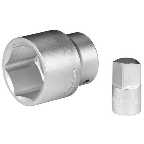 Steckschlüssel Satz SW 44 mm 3//4 Zoll mit Adapter Nuss 1//2 Innen 3//4 Außen BGS