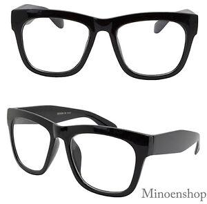 ea5ff506bc9d Thick Black Celebrity Mens Vintage Clear Lens Glasses Bold Frame Hip ...