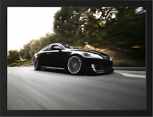 BLACK-LEXUS-IS250-NEW-A3-FRAMED-PHOTOGRAPHIC-PRINT-POSTER