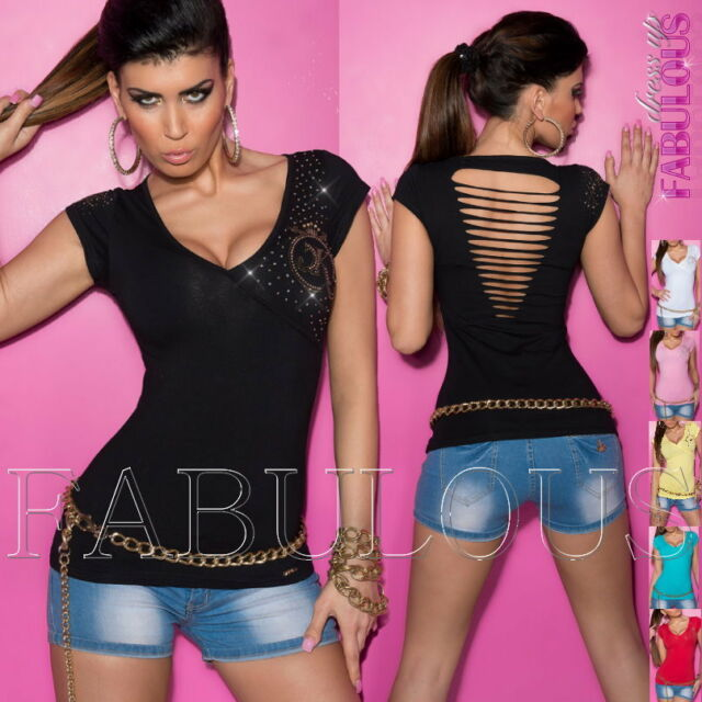 New Sexy Womens Top Size 6 8 10 Ripped Wrap Look Shirt Blouse Diamante XS S M