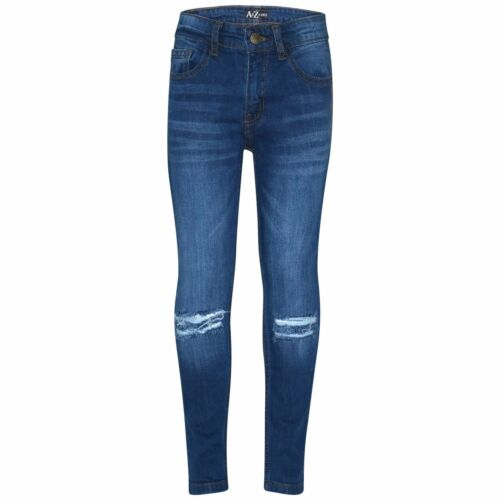 Kids Boys Skinny Jeans Mid Blue Denim Knee Ripped Stretchy Bikers Pant Trouser