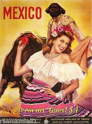 Mexico Mexican Senorita Bull Fighter Vintage Travel Art Poster Advertisement