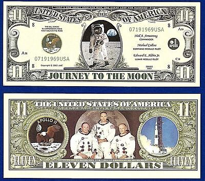 1-APOLLO 11 DOLLAR  BILL Space moon W clear protector sleeve- NOVELTY L3