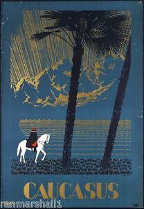 The Caucasus Mountains Eurasia European Vintage Travel Art Advertisement Poster