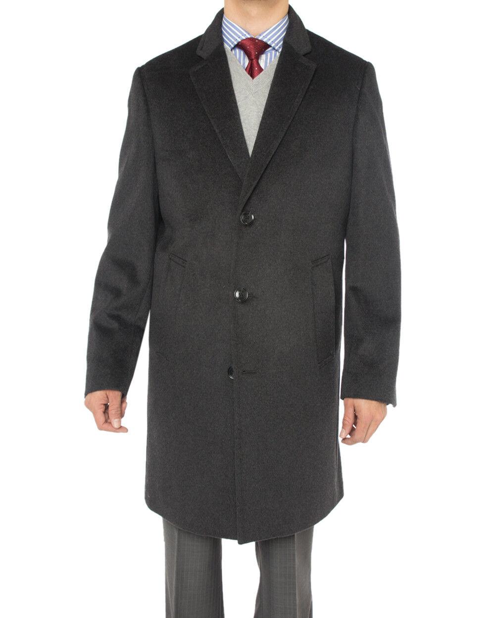 Luciano Natazzi  Herren Cashmere Wool Overcoat Knee Length Trench Coat Topcoat