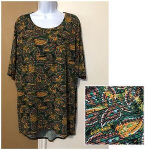 NWOT-LuLaRoe-Irma-Women-s-Size-Large-Green-Paisley-Floral-Knit-Top-Tunic