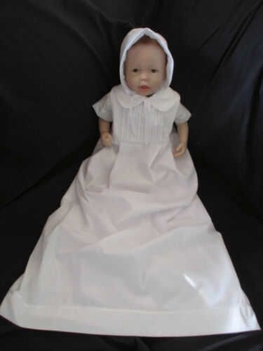 Infant Baby Boys White Handmade Christening Gown Baptism Outfit    0-12 Months