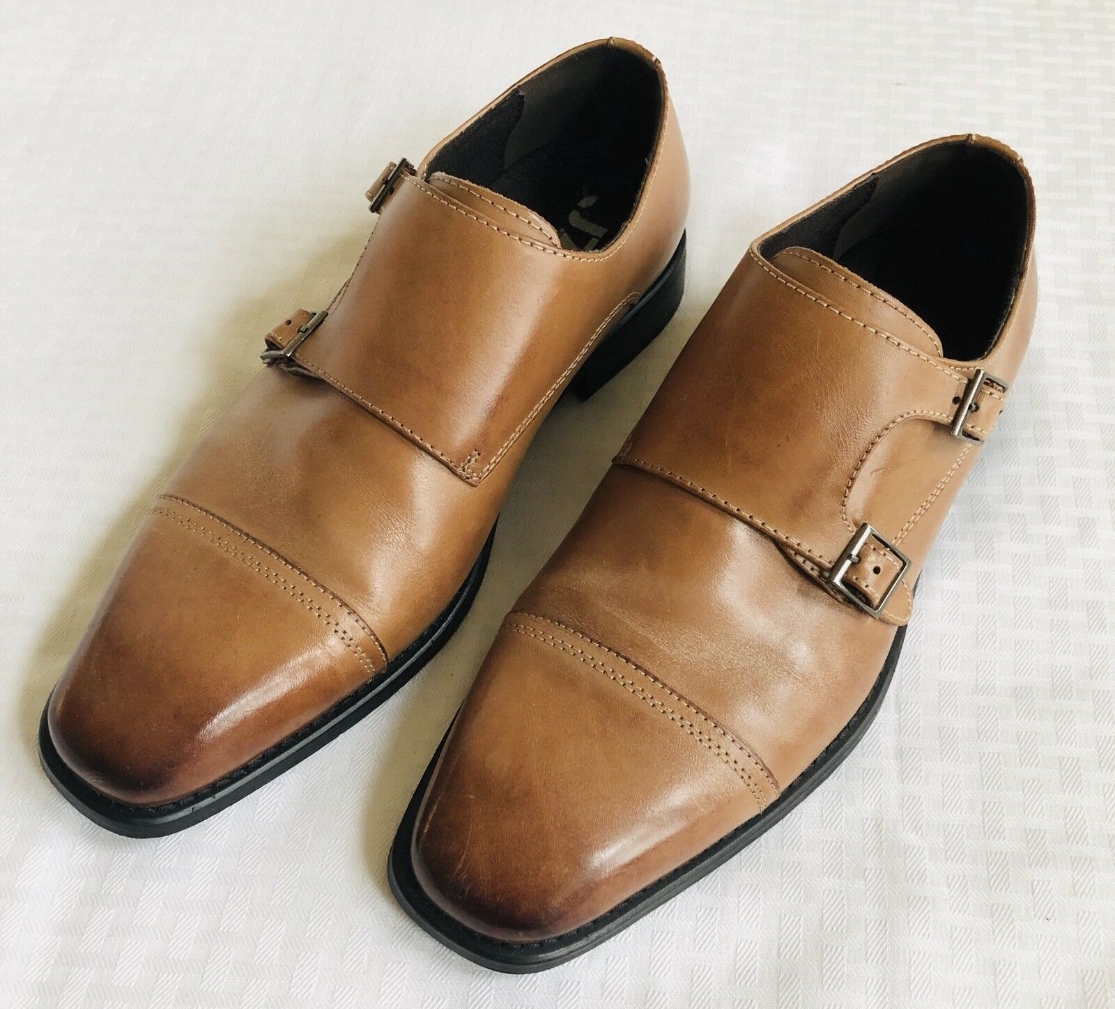 J75 Shoes Double Monk Slip-On Dress Leather Upper by Jump Mens US Size 8 Brown