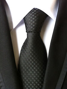 Classic-Men-039-s-Black-polka-dot-JACQUARD-WOVEN-Neck-Ties-Wedding-Party-gift