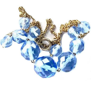 Vintage-Gold-Chain-amp-Sapphire-Blue-Faceted-Crystal-Glass-Bead-Necklace-16-5