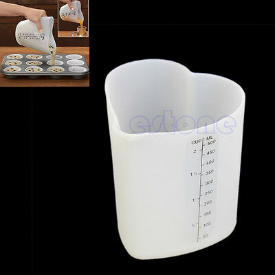 New 500ml Measure Stir & Pour Measuring Cup Flexible Silicone Kitchen Tools