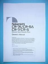 Owner's Manual-Manuale per Nakamichi cr-7/cr-5