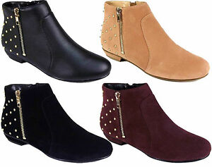 Ladies-Ankle-Flat-Heel-Stud-Pull-Zip-On-Studs-Riding-Biker-Boots-Shoes-Size-3-8