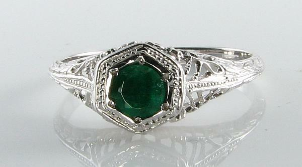 CLASSIC 9CT WHITE gold BRAZILIAN EMERALD FILIGREE SOLITAIRE RING FREE RESIZE