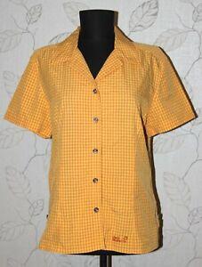 Jack-Wolfskin-pour-femme-Active-Wear-Voyage-Orange-Checks-Shirt-Taille-EU-L-UK-14-16