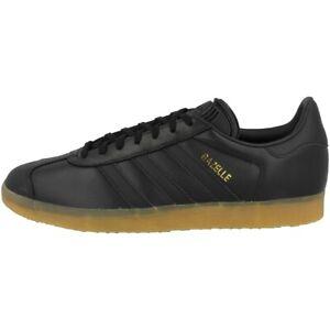 Adidas-Gazelle-Chaussures-Retro-Baskets-Loisirs-pour-Homme-Noir-Caoutchouc