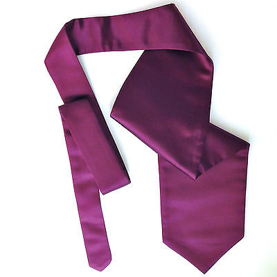 Mulberry purple satin cravat Mens formal wedding tie Single wing Self tie NEW