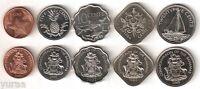 Bahamas - Set 5 Coins 1992-2007 UNC 1, 5, 10, 15, 25 Cents
