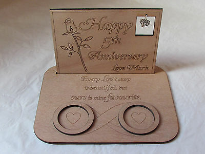 Wooden personalised tea light holder romantic gift 5th wedding anniversary gift