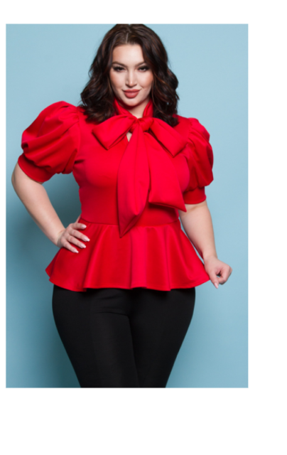 SXY RED SCUBA BOW SHORT SLEEVE PUFF PEPLUM SLIM WOMEN PLUS TOP BLOUSE PARTY 2X