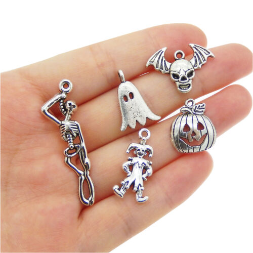 12 pcs Halloween Series Mix Lot Silver Metal Pumpkin Ghost Skull Pendant Charm
