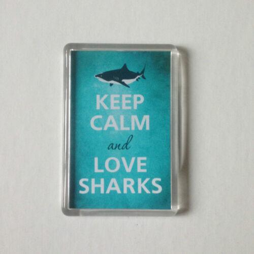 KEEP CALM AND LOVE SHARKS Keyring or Fridge Magnet 1 GIFT PRESENT IDEA