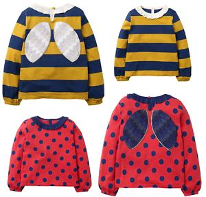 Mini Boden Girls Bee/Ladybird Long Sleeves Top T-shirt Frill 3D Applique Stripe