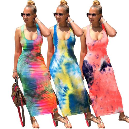 NEW Stylish Women Sleeveless Lowcut Bandage Backless Tie Dye Print Bodycon Dress