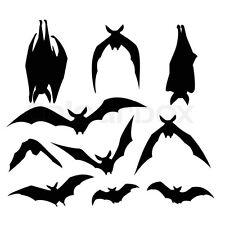 10 Piece Silhouette Shadow Bat Decorations - Gothic Halloween Black Vampire