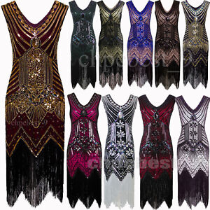 8afe7a40657 Image is loading Gatsby-20s-1920s-Flapper-Dress-Prom-Bridesmaids-Evening-