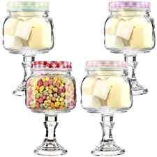 Glass Sweet Jar on Stand. Red/Pink/Lilac/Green Tartan.