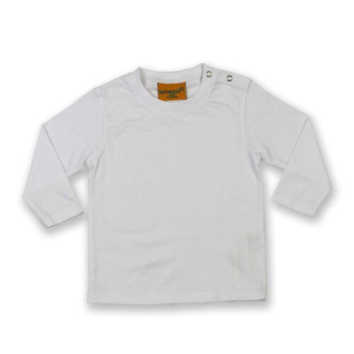 Larkwood Baby//Toddler Long Sleeve T-Shirt Rib Neck Twin Needle Stitching Shirts