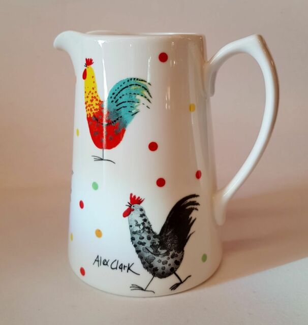 Alex Clark Fine China Jug - Rooster - Colourful Country Style 1/2 Pint Jug