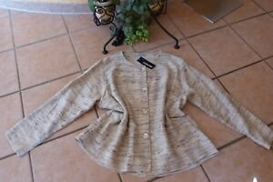 TRANSPARENTE-Jacke-Bluse-60-Seide-matt-48-50-EG-NEU-beige-natur-LAGENLOOK