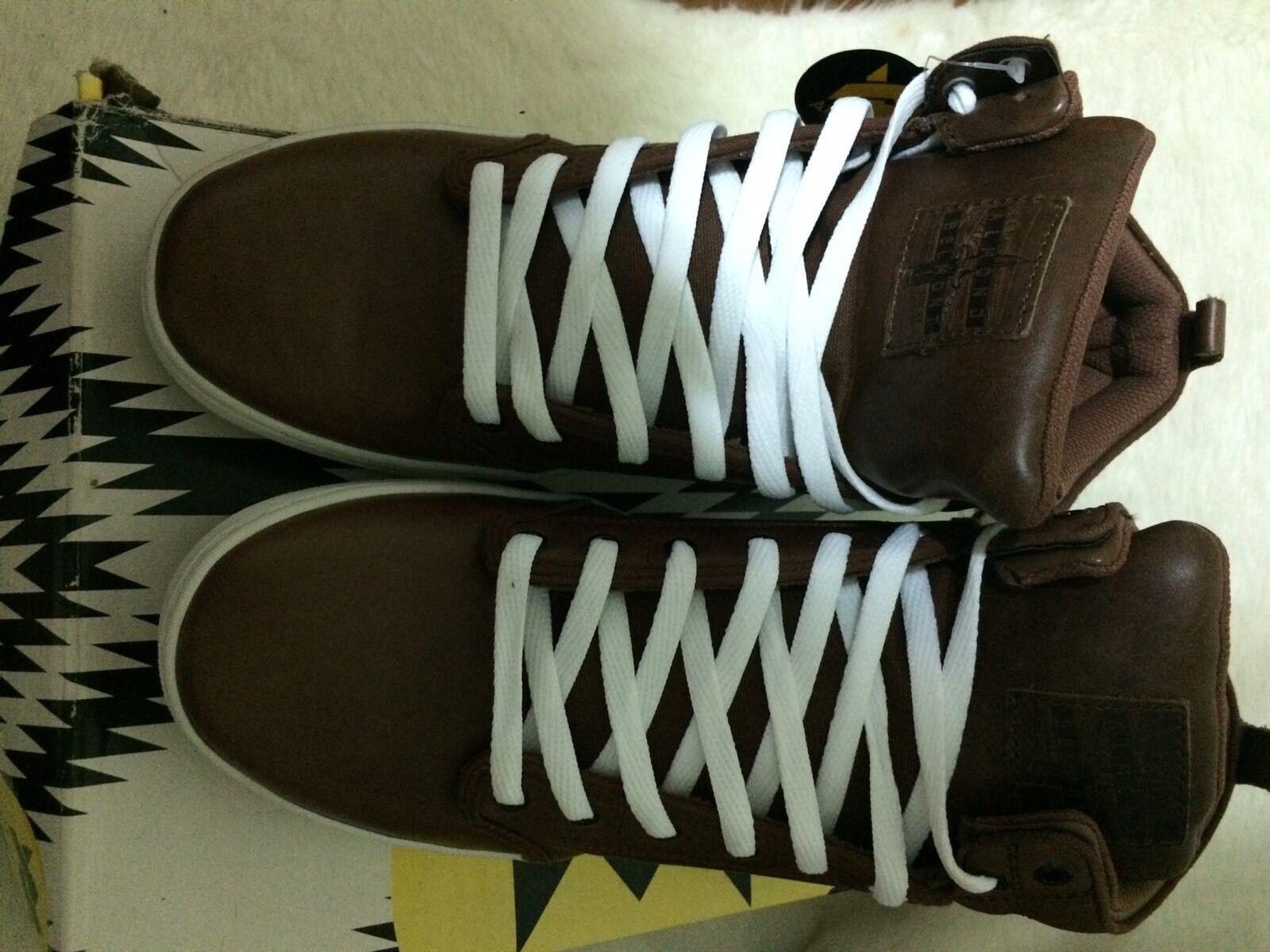 Almond High top shoes Brow Leather Size 12