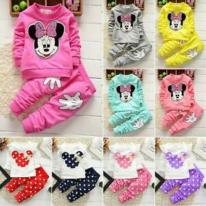 Kids-Baby-Girls-Tracksuit-Minnie-Mouse-Pullover-Sweatshirt-Top-Pants-Suit-Outfit