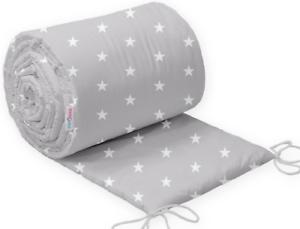 Bebé cama parachoques 190 cm medio cotbed Pequeño Blanco Estrellas En Gris