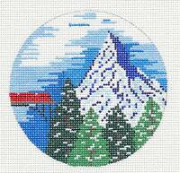 Painted Pony Switzerland Alps Handpainted Needlepoint Canvas 4 Rd. Ornament