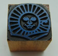 Printing Letterpress Printers Block Sun With A Face