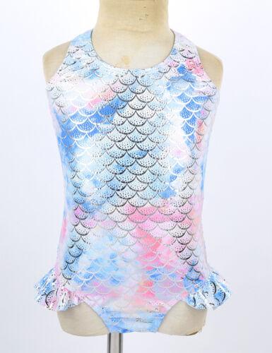Mädchen Badeanzug mit Mermaid Fischschuppen Bademode 98 104 116 122 128 140 152